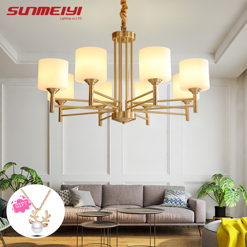 American Modern LED Chandeliers For Living room Dining room  lustres para quarto All Copper Vintage Chandelier LightingAmerican Modern LED Chandeliers For Living room Dining room  lustres para quarto All Copper Vintage Chandelier Lighting