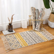 Home bohemian living room bedroom cotton Hemp Mat Nordic retro national wind coffee table fringed bedside carpet hand-woven mats