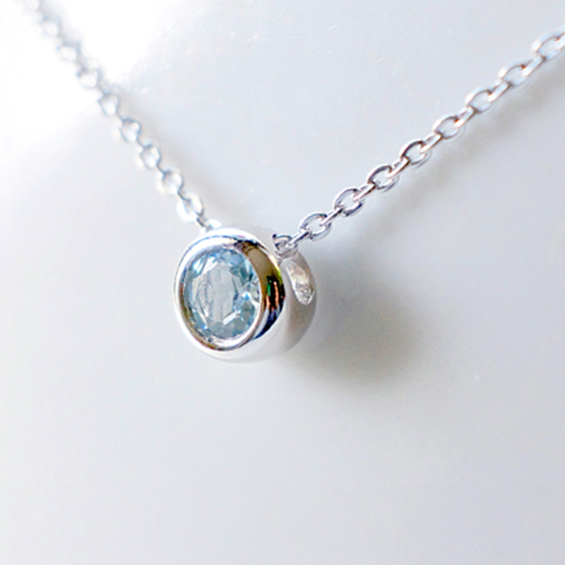 6mm VS Natural Aquamarine Necklace 925 Sterling Silver Girl Jewelry Charm Jewelry Solitaire Stone Necklace Pendant