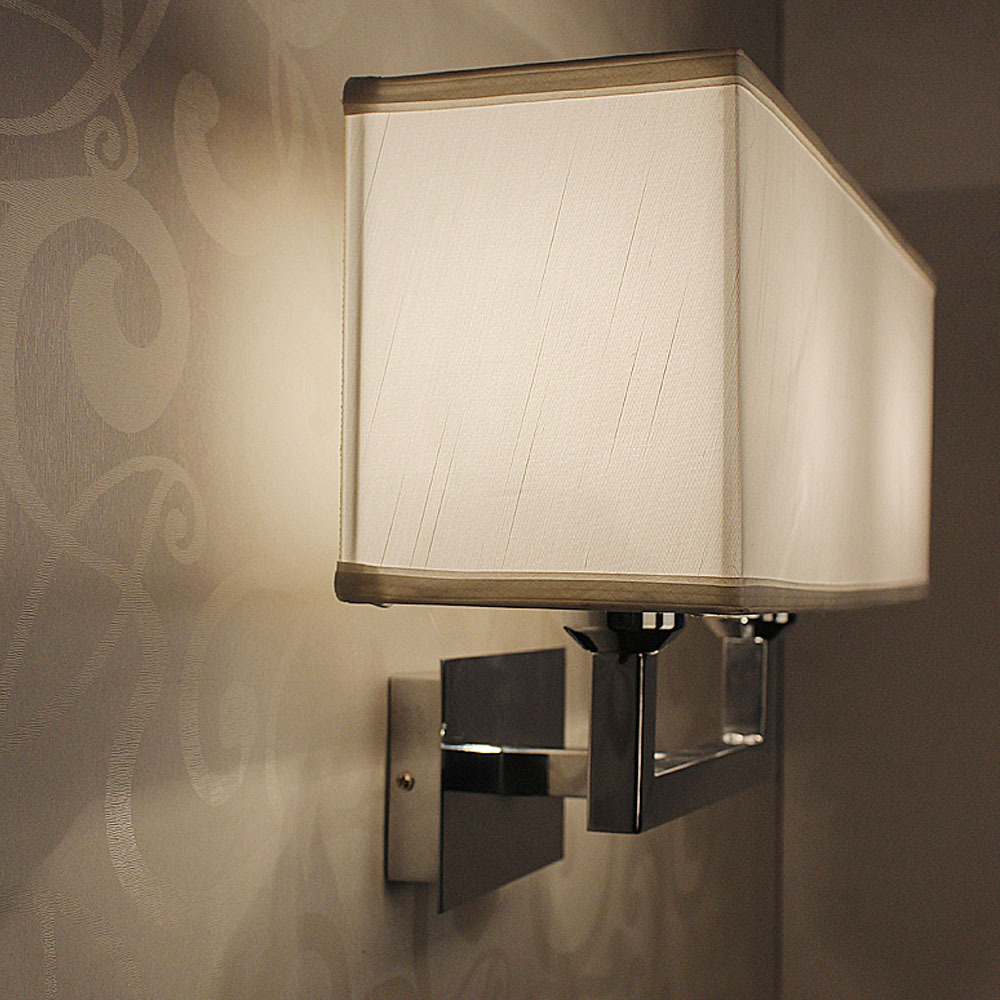 New Fabric Shade Wall Sconces Light Living Bed Room LED Lampshade ...