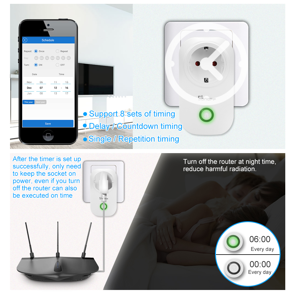 Sonoff S20 wifi Socket Smart Timer Plug Smart Home Stopcontact EU 5
