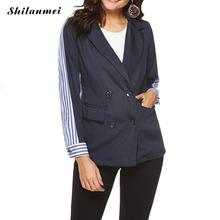 2018 Fashion Striped Patchwork Blazer Women Double Breasted Pockets Notched Jackets Autumn Casual Outerwear OL Ladies Blaser Top