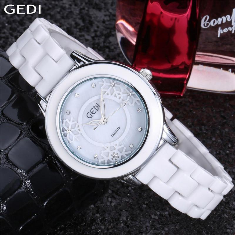 Prix pour GEDI femmes montres top marque de luxe Dames Élégantes D'or Ruban de neige Montres En Céramique Robe montre relogios