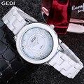 Mulheres GEDI relógios de marca de topo de luxo Elegantes Senhoras relógios de Pulso de Ouro Sliver neve Cerâmica Dress watch relogios