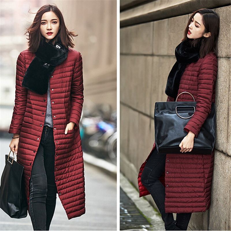 2017 New Fashion Korean Version Of The Long Section Of Thin Knees Down Jacket Winter Coat Women Straight DP030 2017 korean version of the thickening of female workers in the long coat lambskin coat winter coat large size coat