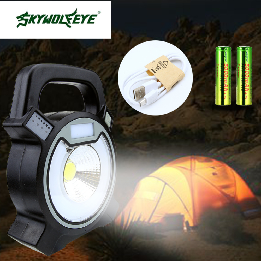 SKYWOLFEYE 3800ML 20X SMD LED Camping Emergency Light Portable Tent Lamp Lantern power Bank Hiking+2*18650 battery+USB Cable