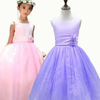 2016 Summer New Sleeveless Cotton Girl Dresses For Wedding Party 3D Flowers Embellished Belt Kids Clothes