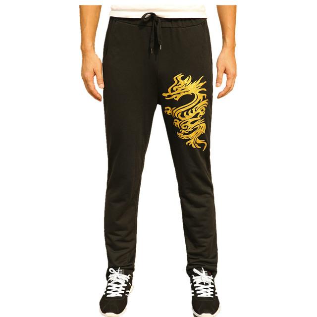 Novo 2016 Bodyboulding Calças Dos Homens Roupas de Marca Splice Lace-Up Impressão Dragão Dourado Perna Reta Homens Corredores calça Emagrecimento