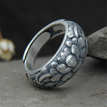 Brand 100% 999 Sterling Silver 9.70mm Carved Lotus Flower Rings For Women Vintage Style Lady High Quality Jewelry