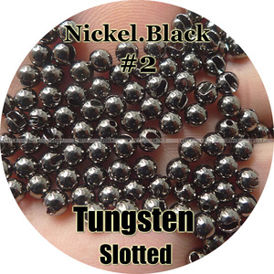 Image 1 - Nickel Black #2, 100 Tungsten Beads, Slotted, Fly Tying, Fishing