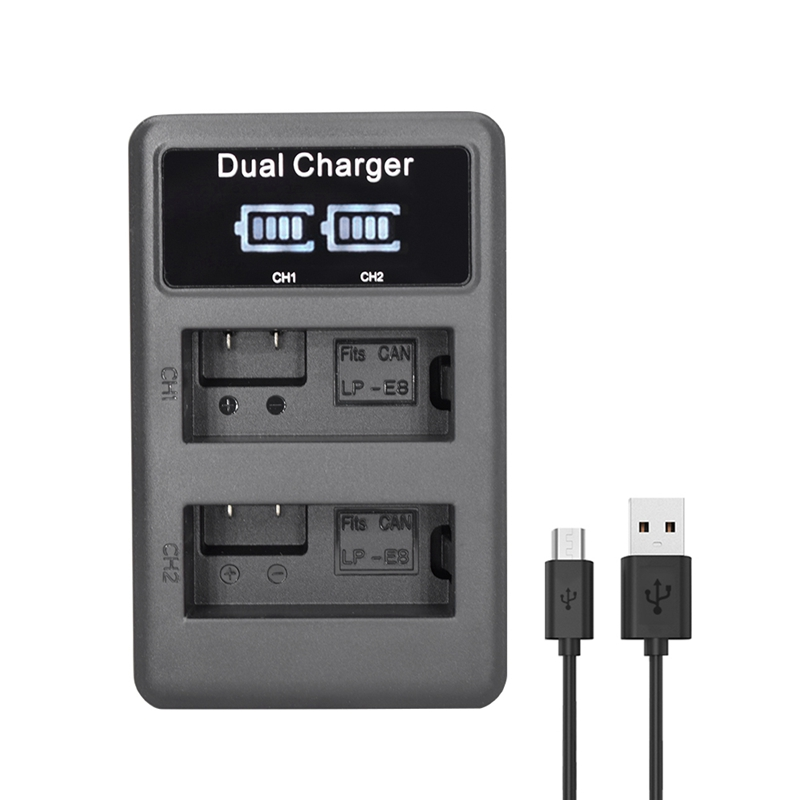 Image 2 - Lp E8 Camera Battery Charger Lp E8 Lcd Intelligent Display Dual Usb Charger Display For Canon Eos 550D 600D 650D 700D X4 X5 X6-in Camera Charger from Consumer Electronics