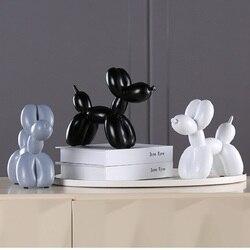 Nova moda resina balão cão artesanato escultura presentes criativos moderno simples casa decorações estátuas 8 cores ornamento desktop