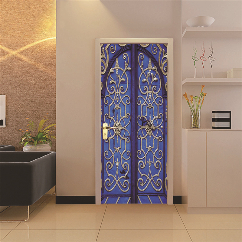2 sheets/pcs Solid Color Based Golden Pattern Door Picture Retro DIY Mural Sticker Pretty Wall Poster for Cafe Home Store Decor