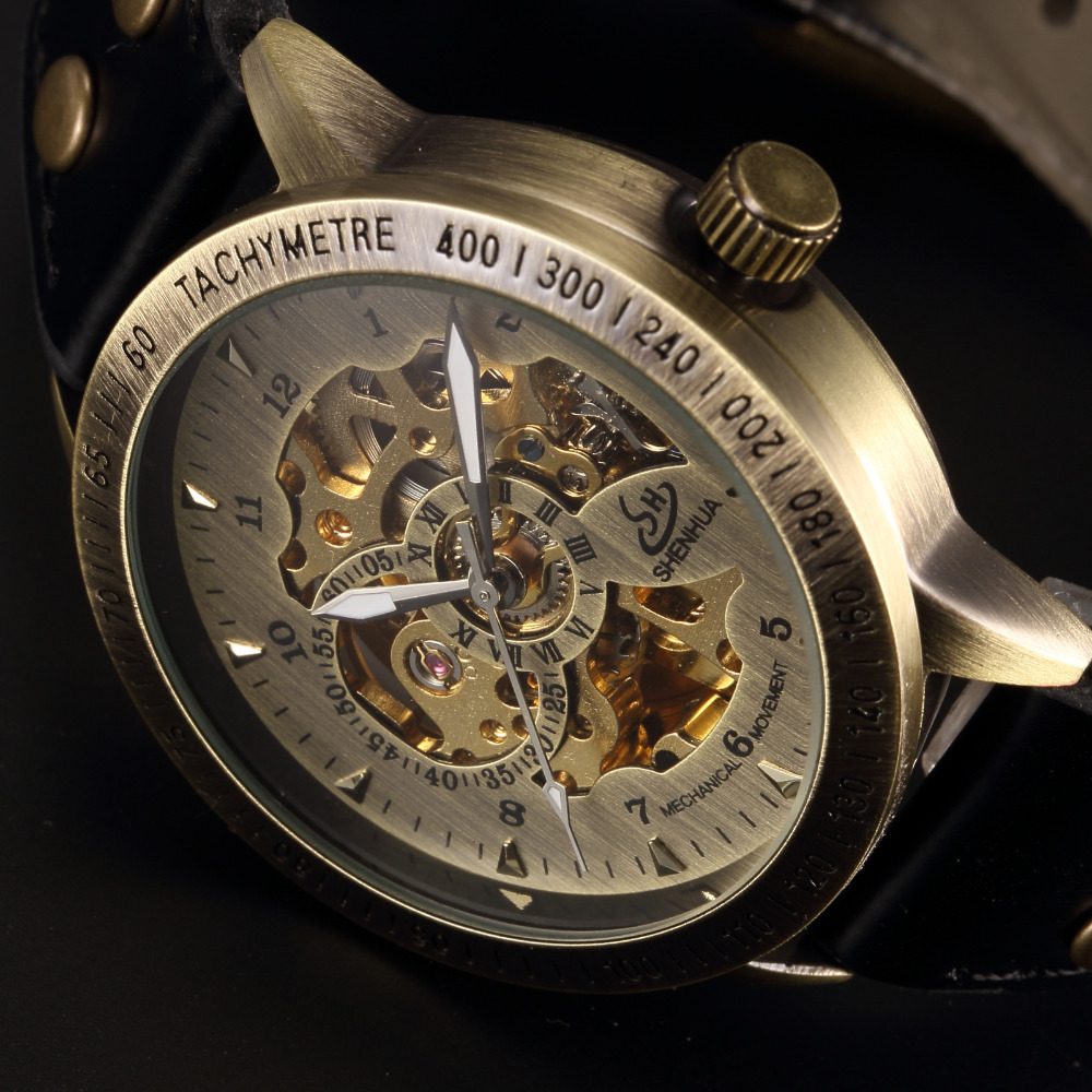 SHENHUA Vintage Bronze Men Wristwatches Skeleton Male Clock Leather Strap Steampunk Casual Watches Automatic Mechanical Watch retro hollow skeleton automatic mechanical watches men s steampunk bronze leather brand unique self wind mechanical wristwatches