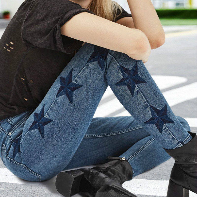 Star Pattern Side Stripe Jeans Women Europe America Fashion 3D Stereo Embroidery Trousers Blue Patchwork Elasticity Skinny Jeans