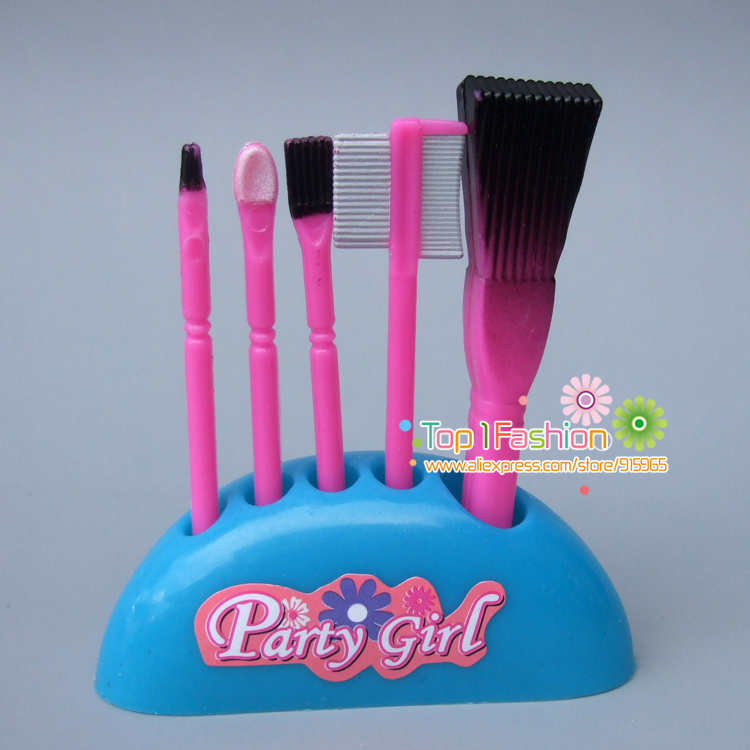 Humorous toys for child ladies play home toys plastic make up brush equipment For Barbie doll