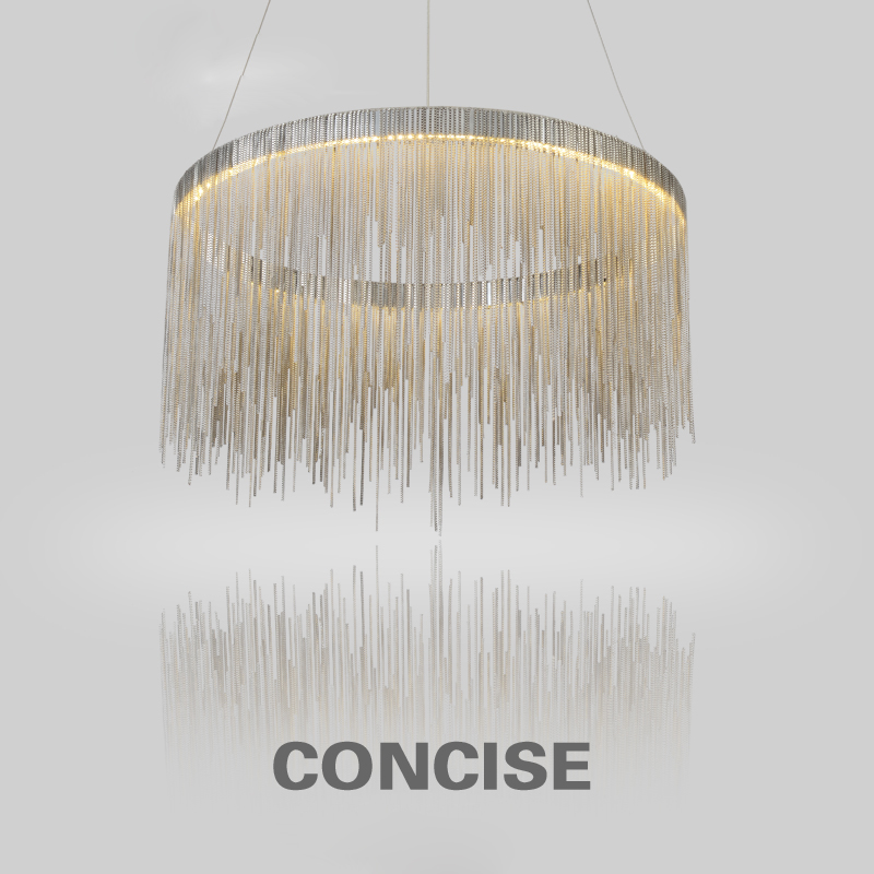 T Aluminum Tassel Circular Pendant light For Living Room Dining Room Home Modern Luxury Simple European Style Led Bulb included modern fashion simple circular wooden handle aluminum lid chandelier made of iron painting diameter 50cm ac110 240v