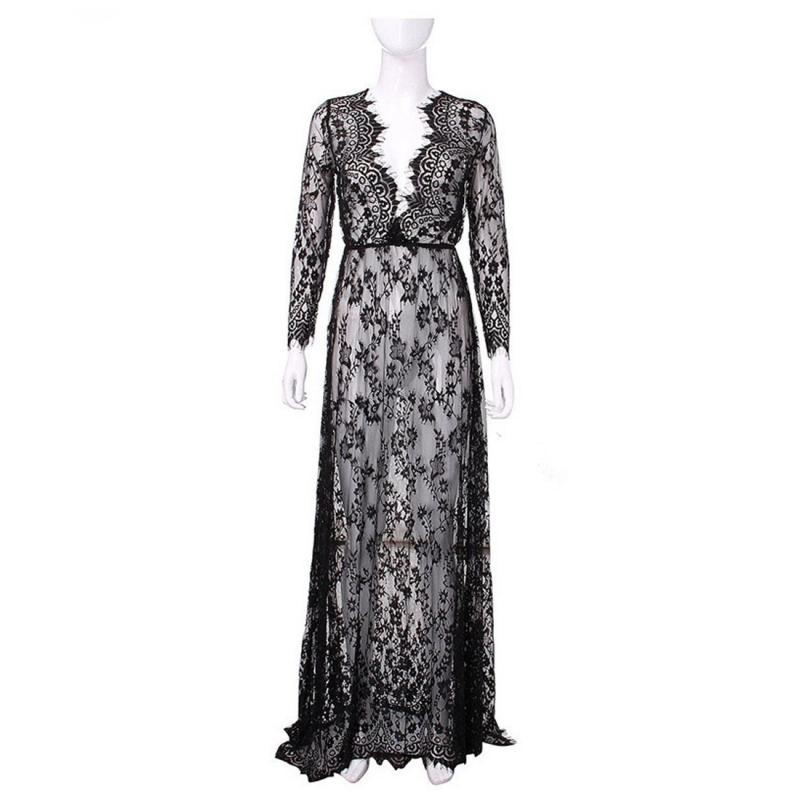 f79ca1da51e Women Floor Length Black White Lace Dress Sexy See Through Floral Vestido  Crochet Hollow Out Perspective Beach Long Dresses-in Dresses from Women s  Clothing ...
