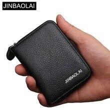 Купить с кэшбэком JINBAOLAI Men Wallets Brand Design Genuine Leather High Quality Wallet Female Zipper Fashion Dollar Price MINI Women Wallets