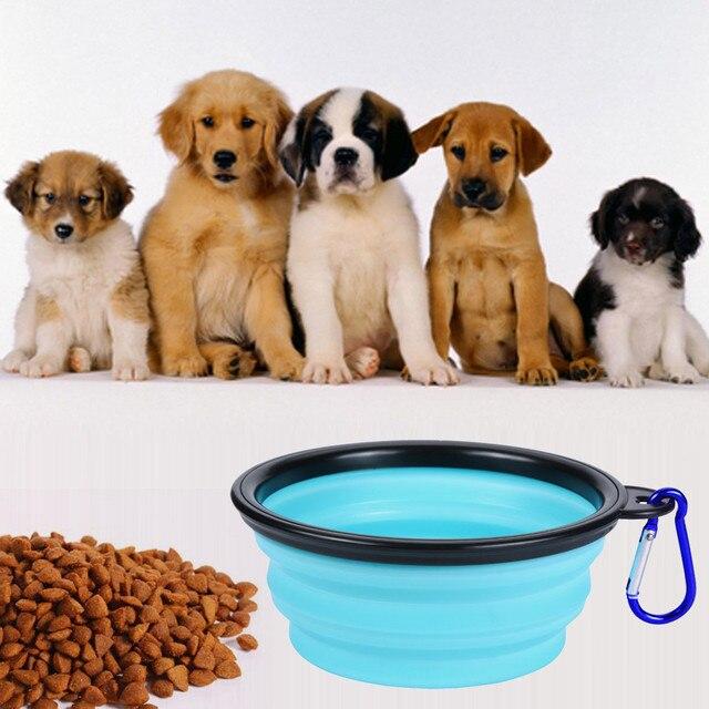 2018 NOVO Animal de Estimação Do Gato Do Cão de Silicone Dobrável de Viagem Alimentação Tigela de Água Dish Feeder 0409