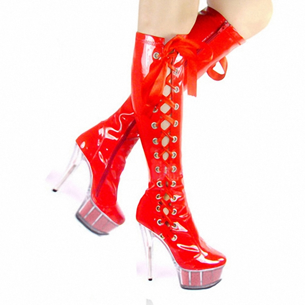 ФОТО Wholesale HOT Fashion sexy 6 inch high heel knee boots clear Platform women's motorcycle boots 15cm red pole dancing boots