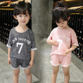 2016 High quality Summer fashion leisure sets girls Personalized Alphanumeric pattern short sleeve T-shirt with shorts 18m-5T