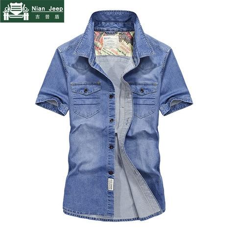 2018 Brand Clothing Men Shirt Camisa Masculina Plus Size 4XL Jeans Shirt Mens Shirts Summer Short Sleeves Cago Shirt homme Pakistan