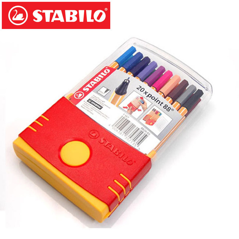 Genuine 20colors Stabilo Point 88 Micron Liner Pen Sketch Marker Set 0.4mm Ultra-Fine Micron Pen Draw Liners Art Supplies 8803 touchnew 60 colors artist dual head sketch markers for manga marker school drawing marker pen design supplies 5type