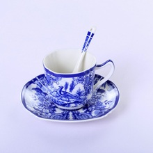 Blue and White Ceramic Glaze Colored Coffee Cup Europe Noble Bone China Saucer Spoon Set 200ml Luxury Mug Top