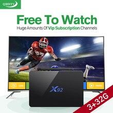 IP ТВ коробка X92 Android ТВ ТВ-приставки 3 г + 32 г ТВ приемник + Арабский IP ТВ Европе французский HD IP ТВ подписка 1 год QHD ТВ media player