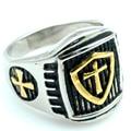 Moda ouro cruz escudo anéis para homens mulheres 316L aço inoxidável de alta qualidade Punk jóias presentes LR416