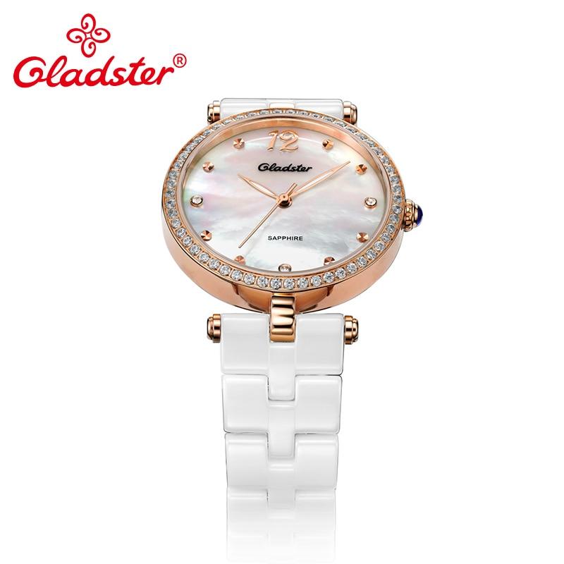 Gladster Ceramics Strap Golden Women Quartz Watch Shell Dial Lady Dress Wristwatch - 3