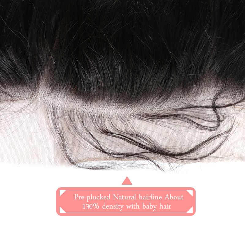 Ali rainha hd cabelo do laço orelha à orelha fechamento frontal do laço 13x4 com o cabelo do bebê pré arrancado brasileiro em linha reta remy cabelo parte livre