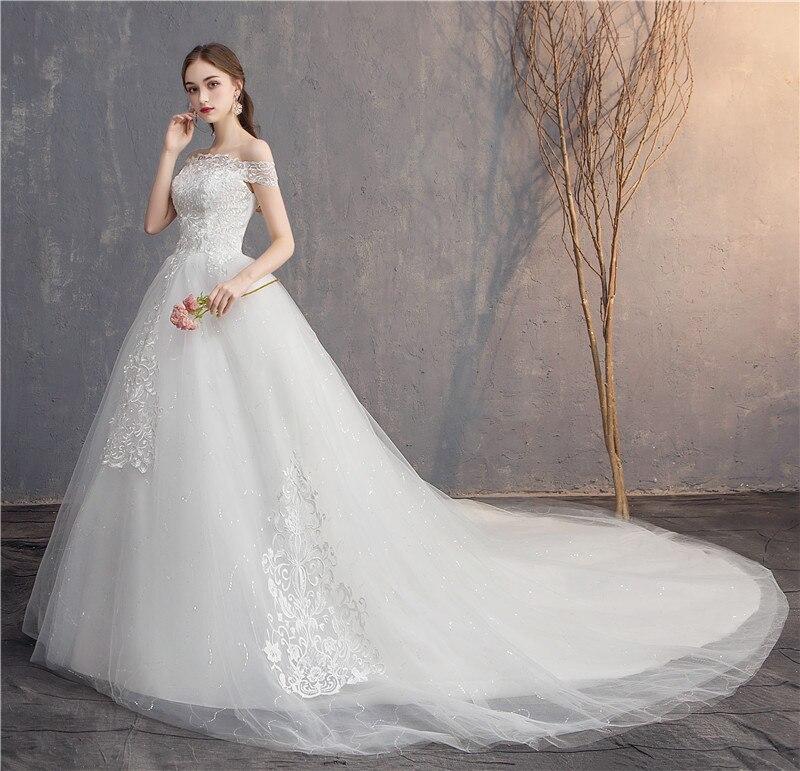 Do Dower 2019 Wedding Dress Lace Embroidery  Long Train Wedding Gown Off The Shoulder Plus Size Bride Gowns Vestido De Noiva