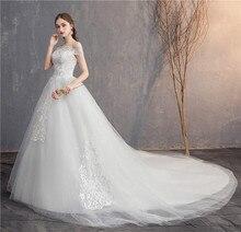 Свадебное платье с длинным шлейфом EZKUNTZA, кружевное платье с вышивкой и открытыми плечами размера плюс, 2019