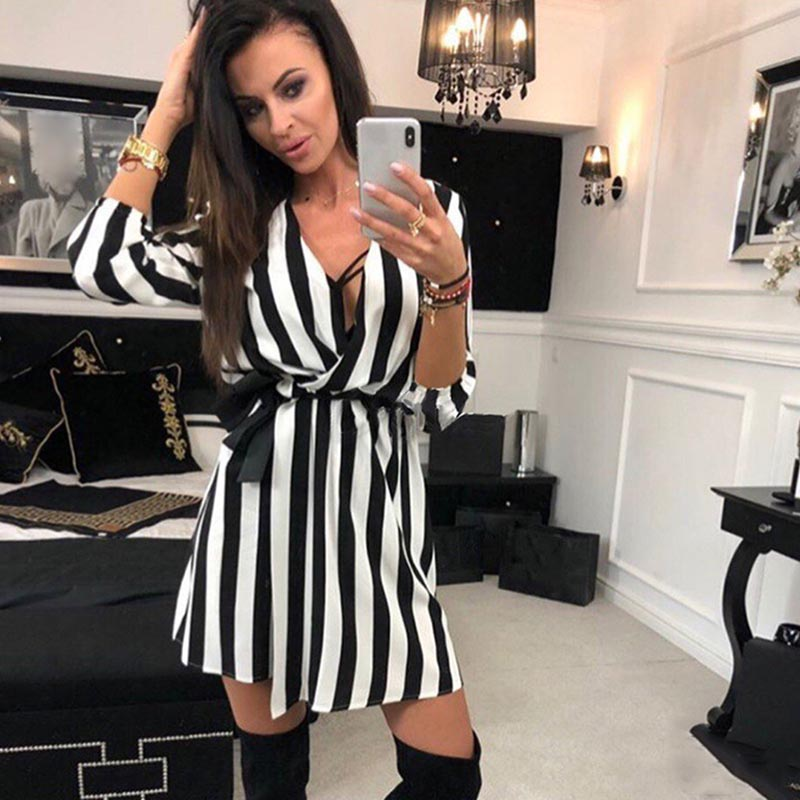 1 Pcs Women Lady Dress V Neck Stripe Fashion Loose Casual Clothing for Party FS99