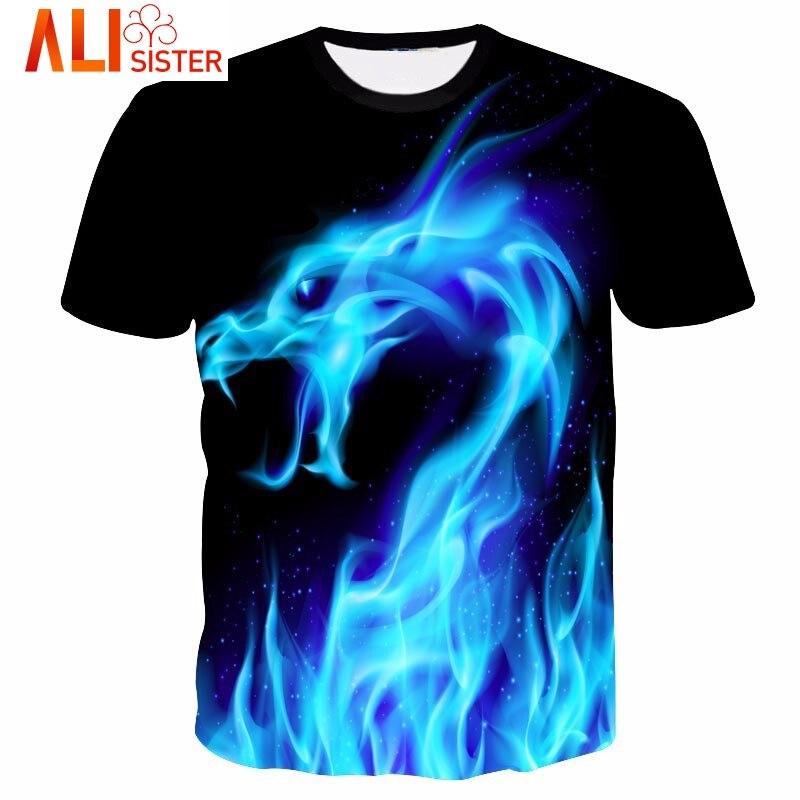 Bleu Feu Serpent Drôle T Shirt 3d Dragon Imprimer Hip Hop hommes de Chemise Alisister D'été Marque Vêtements Plus Taille Tee Tops Dropship
