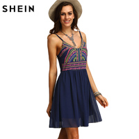 SheIn Print Dresses Women Clothing New Arrival 2016 Womens Sexy Multicolor Spaghetti Strap Short Summer Sundresses