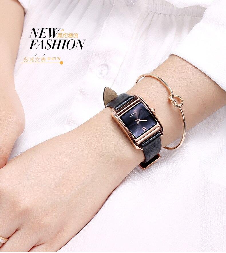 Guou marca cuarzo reloj banda de cuero relojes de las mujeres de moda simple cuadrado wwater Calendarios cuarzo resistente al agua relojes de pulsera