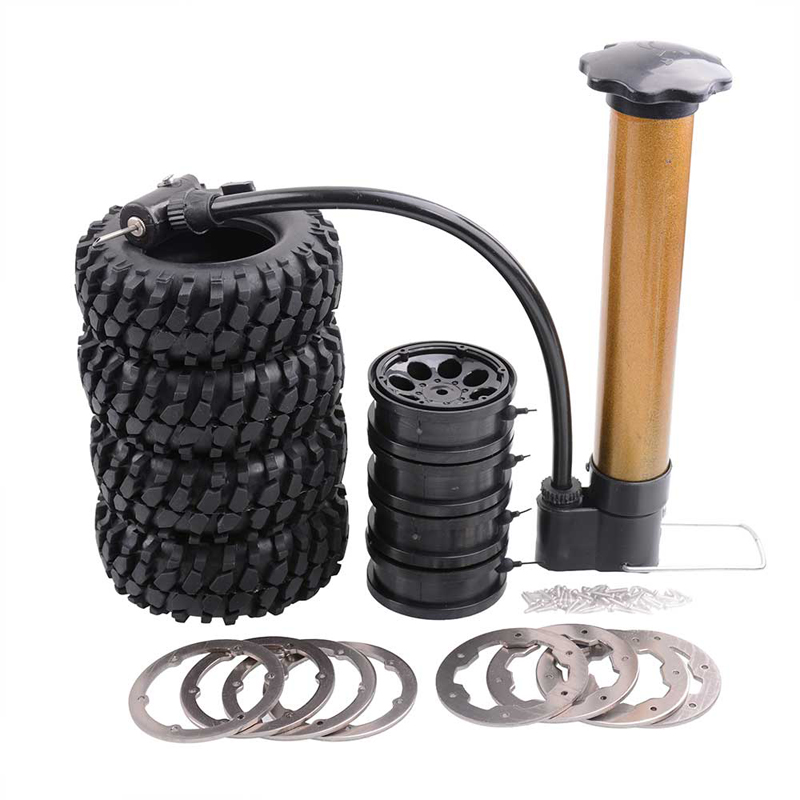 RC Car 4x96mm Air Filled Inflated Tire 1.9inch Bead Lock Wheel Rim Tire Climbing Car Gravel Tire Clips for RC4WD SCX10 Model Car