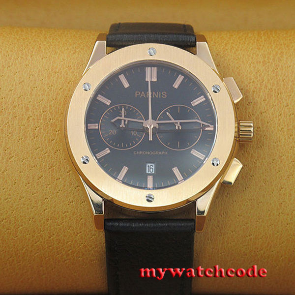 лучшая цена 44mm parnis black dial Golden Stainless Steel chronograph mens quartz watch P649