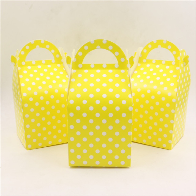 Us 10 89 Pure Yellow Dot Paper Gifts Boxes 12pcs Birthday Party Candy Box Baby Shower Decoration Kids Favors Party Supplies Candy Boxes In Gift Bags