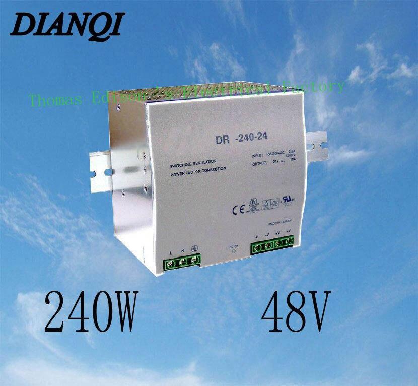 Din rail power supply 240w 48V power suply 48v 240w  ac dc converter dr-240-48 good quality din rail single output switching power supply 48v 240w dr 240 48 240w 48v 5a ac dc converter