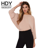 Haoduoyi Womens Fashion Backless Solid Three Quarter Sleeve Crop Tops Drawstring Buttons Lady T Shirts For