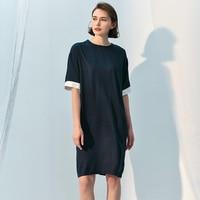 Women Silk Dress 100% Silk Office Lady Elegant Style V Neck Short Sleeves Sashes Fashion 2019