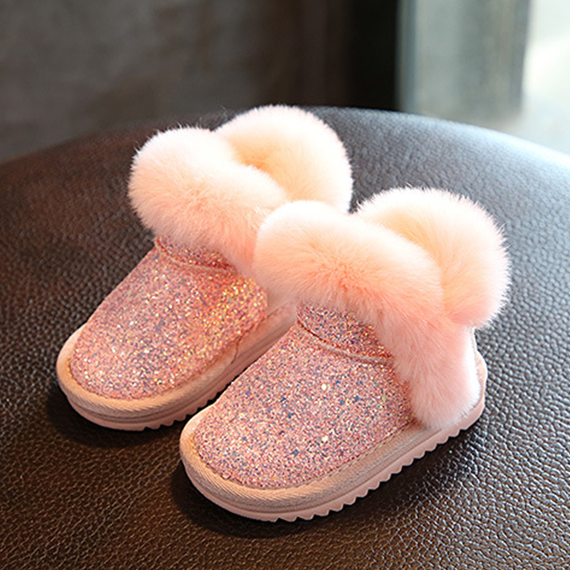Winter Fashion Toddler Girls Boots Princess Warm Snow Boots Kids Sequins With Fur Thicker Comfortable Children Ankle High Boots ...