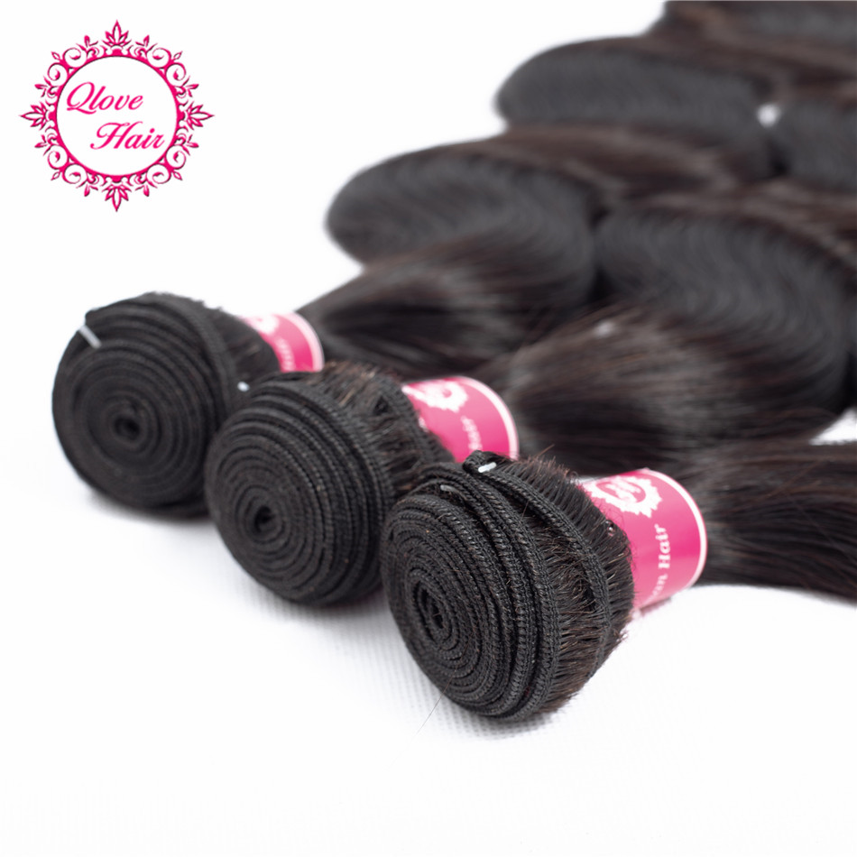 Qlove Hair Human Hair Bundles Brazilian Body Hair Weave Bundles Wavy Bundles In Extention 8-26 Inch Can Buy 3 or 4 Bundles