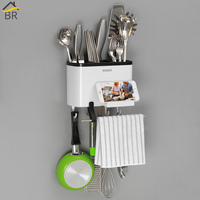 BR 5 Grid Multifunctional Cutlery Drainer Rack Wall Mounted Kitchen Storage Organizer Spoon Fork Holder Holder For Paper Towels