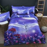 Cartoon Unicorn Luxury Home Fashion Bedding Set Colorful Polyester Comforter and Pillowcases Super King Twin Size Kids Bed Cover