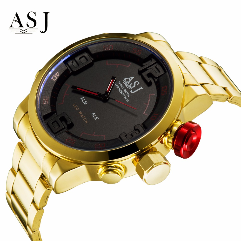 ASJ Mens Fashion Casual Sport Watch Alarm Date Digital Stopwatch Leather Strap LED Male Military Clock Army Gold Quartz Watches asj b005 dual movt men quartz digital watch stopwatch display